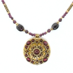 Michal Golan Garnet Round Pendant Beaded Necklace 2733