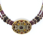 Michal Golan Garnet Multi-Strand Oval Pendant Beaded Necklace 2736