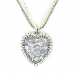 Michal Golan Clear Quartz Heart Multi-Chain Necklace 2830