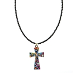 Michal Golan Multi-Bright Cross Necklace 2897