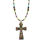 Michal Golan Black Flower Garden Cross Necklace 909
