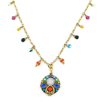 Michal Golan Multi Bright Small Hoop Pendant on Beaded Chain N2706