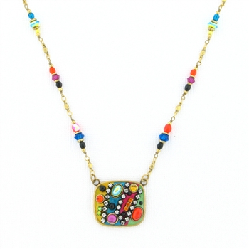 Michal Golan Spectrum Crystal Square Pendant on Beaded Chain