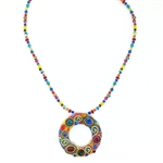 Michal Golan Necklace Open Circle Multi N3139