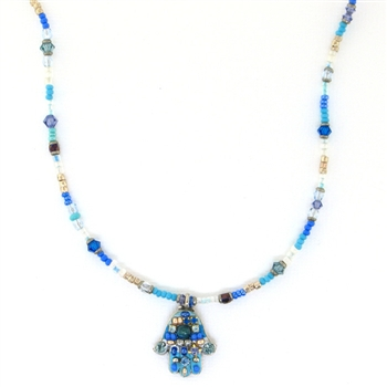 Michal Golan Hamsa Necklace Turquoise N881