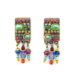 Michal Golan Multi-Bright Rectangle Dangle Earrings S-5929