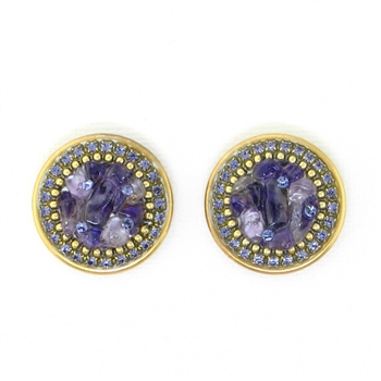 Michal Golan Amethyst Round Earrings - S7446 - Posts