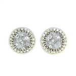 Michal Golan Clear Quartz Round Post Earrings  S-7468