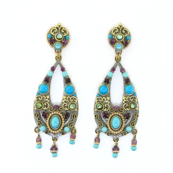 Michal Golan Turkish Bazaar Long Dangle Post Earrings S-7487