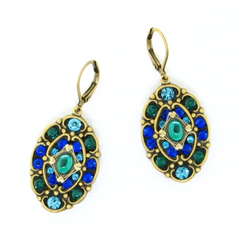 Michal Golan Peacock Earrings Oval S7785