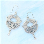 MoosePablos Sterling Silver Filligree & Birds Earrings on Wires