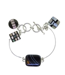 Sandy Baker Black Onyx, Mother of Pearl and Sardonyx Steps Bracelet