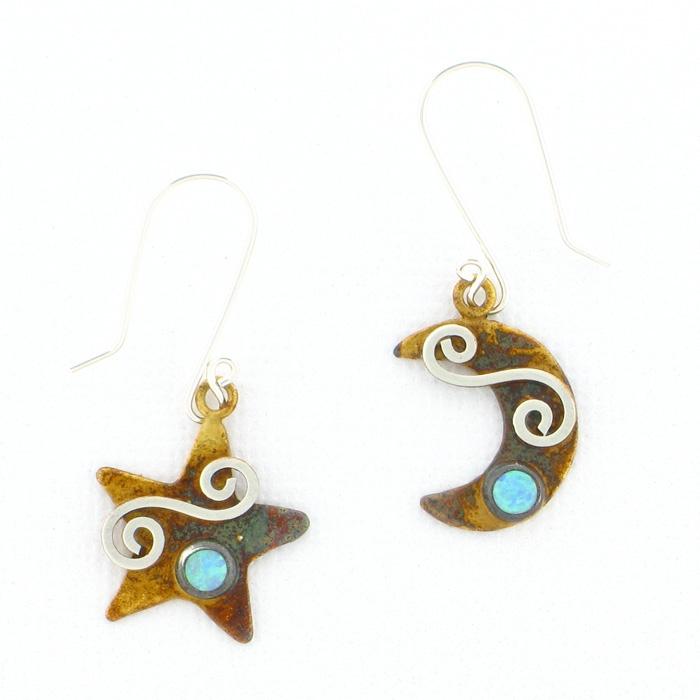 Serendip Designs Star & Moon Earrings Blue Opal