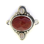 Tabra Fire Agate and Moonstone Charm