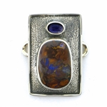 Tabra Boulder Opal and Iolite Charm