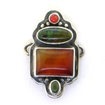 Tabra Amber, Chinese Turquoise & Coral Charm