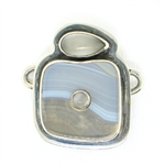 Tabra Grey Banded Agate with Moonstone Charm