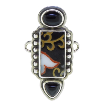 Tabra Porcelain Shard and Onyx Charm