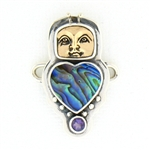 Tabra Paua Shell Heart, Bug Goddess and Amethyst Charm
