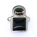 Tabra Black Onyx and Dichroic Glass Charm