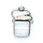 Tabra Mother of Pearl, River Pearl & Clear Quartz Charm