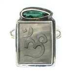 "Tabra Mother of Pearl ""Om"" Charm with Green Quartz"