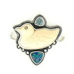 Tabra Carved Bone Duck with Opal & Blue Topaz