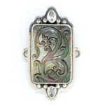 Tabra Mother of Pearl Carving & Faceted Clear Quartz Charm