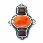 Tabra Fire Agate and Faceted Garnet Charm