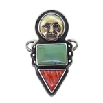 Tabra Bug Goddess Turquoise & Red Shell Charm