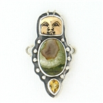 Tabra Bug Goddess Rainforest Jasper & Citrine Charm