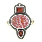 Tabra Snake Skin Agate and Indian Garnets Charm