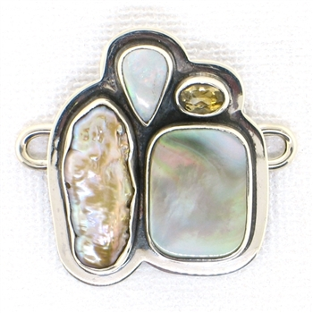 Tabra Mother of Pearl, River Pearl,  Opal & Citrine Charm