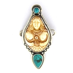 Tabra Bone Fertility Goddess and Chinese Turquoise Charm