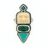 Tabra Bone Moon Goddess, Turquoise and Green Quartz Charm