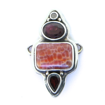 Tabra Fire Agate, Faceted Garnets and Moonstone Charm