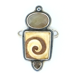 Tabra Bone Swirl Carving, Faceted Chalcedony & Smokey Quartz