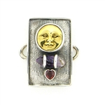 Tabra Bronze Sun God, Amethyst Crystal Point and Garnet Charm