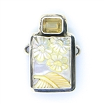 Tabra Mother of Pearl Floral Carving with Citrine Charm