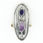 Tabra Amethyst Crystal Point & Opal Charm
