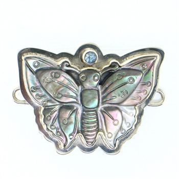 Tabra Mother of Pearl Butterfly & Blue Topaz Charm (Large)