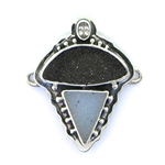 Tabra Black Garnet, Grey Druzy and Clear Quartz Charm