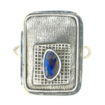 Tabra Boulder Opal Silver Emboss Rectangle Charm