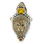 Tabra Bronze Lion with Triple Citrine Charm
