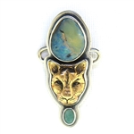 Tabra Bronze Jaguar, Boulder Opal, and Indian Emerald Charm