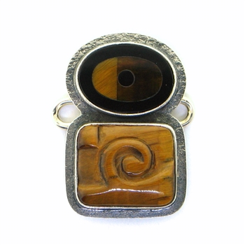 Tabra  Tiger Eye and Onyx Inlay Charm