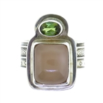 Tabra Peach Moonstone Green Tourmaline Ring
