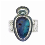 Tabra Boulder Opal and Blue Topaz Ring