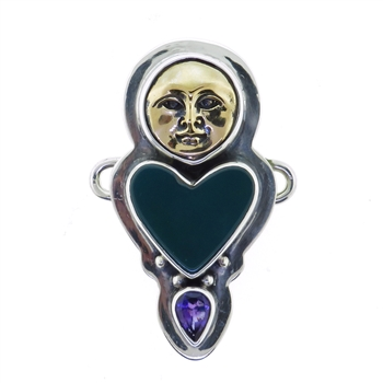 Tabra Bronze Bug Goddess, Jade Heart and Amethyst Charm