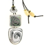 Tabra Necklace-Black Mother of Pearl Swirl & Bone Beads
